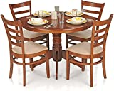 Royal Oak Dining Table Set with 4 Chairs (Brown)