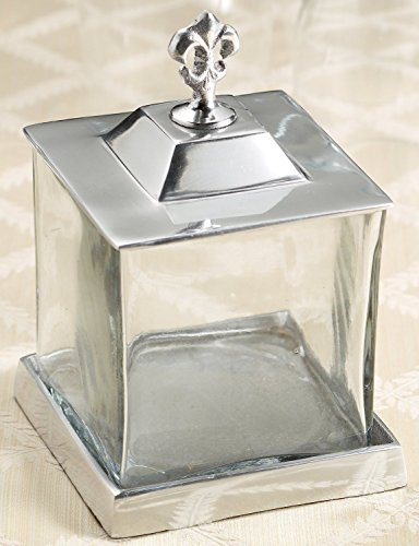 KINDWER Fleur-de-Lis Apothecary Jar with Lid and Base (Apothecary Jar With Metal Lid compare prices)
