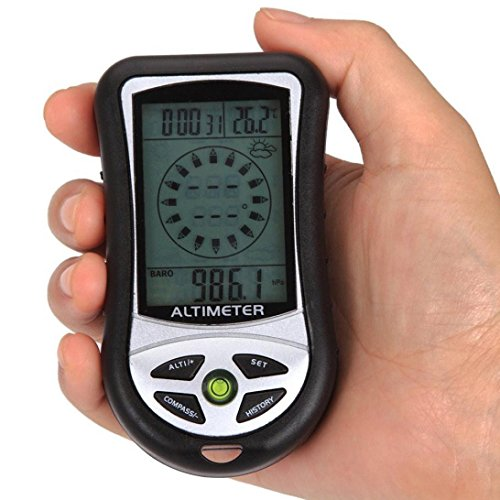 TOOPOOT® 8 In 1 Digital LCD Compass Altimeter with Barometer Temperature Clock Calendar