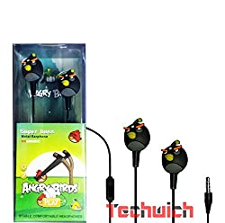 Techwich Angry Bird Style 3.5mm Plug in-Ear Earphone - Black (with Clip Mic)