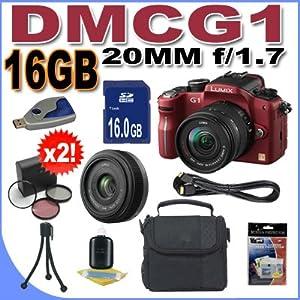 Panasonic Lumix DMC-G1 12.1MP Digital Camera with Lumix G Vario 14-45 mm f/3.5-5.6 Lens (Red) Panasonic LUMIX G 20mm f/1.7 Aspherical Pancake Lens BigVALUEInc Accessory Saver 16GB HD Bundle