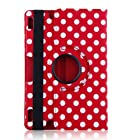 iStyle Free All-new PU Leather Luxury Stylish Slim-Fit Ultra Lightweight 360 Degrees Rotating Swivel Stand Polka Dot Pattern Design Series Smart Cover Case Skin Multi-Angle Viewing for Amazon Kindle Fire HDX 8.9 Tablet 8.9 HDX Display, Wi-Fi, Optional 4G LTE Wireless, 16GB, 32GB, or 64GB (Only for 2013 year release 2013 Model) with Free Gifts Bonus Stylus Pen and Cleaning Cloth - Red