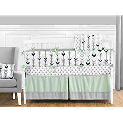Sweet Jojo Designs Grey, Navy Blue and Mint Woodland Arrow 9 piece Crib Bed Bedding Set with Bumper for a Newborn Baby Girl or Boy