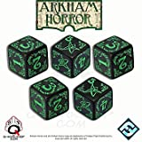 Q-Workshop: ARKHAM HORROR DICE SET (Black with Green - 5 d6 Die)