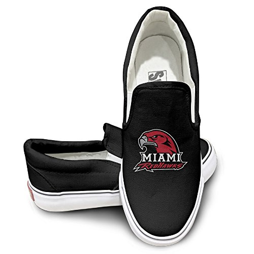 WG Custom Unisex Footwall Canvas Shoes Miami University U Miami Of Ohio RedHawks Sun Black