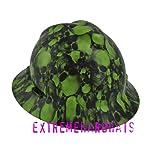 MSA V-gard Full Brim Green Skulls Hard Hat w/Ratchet Suspension