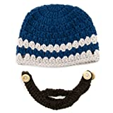 Small Beard Beanie - Blue Lumberjack Beanie Hat for Baby and Toddler. Soft Stretchable Beard Beanie Hat Circumference Is 36cm or 14 Inches.