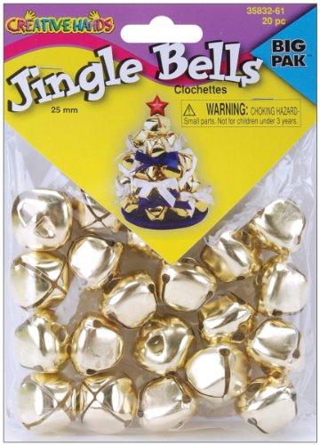 Fiber Craft 20-Pack Jingle Bells, 25Mm, Gold
