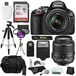 Nikon D5100 DSLR Camera with 18-55mm f/3.5-5.6 AF-S Nikkor Zoom Lens + 32 GB SanDisk Ultra + Gadget Bag + Tripods + Filters + Flash + Extra Accessories - Imported