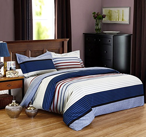 DelbouTree 2pcs Bedding Set,Lightweight Microfiber Duvet Cover Set,Twin size Royal Stripe