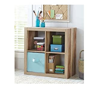 Better Homes And Gardens Bookshelf Square Storage Cabinet 4 Cube Organizer Weathered