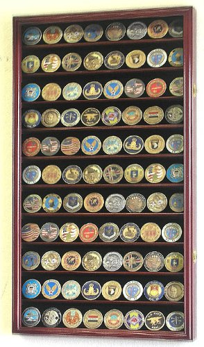 L Military Challenge Coin Display Case Cabinet Rack Holder Stand Box w/ UV Protection, Cherry Finish