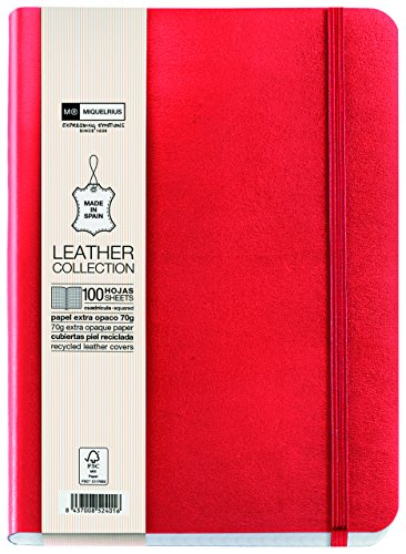 basicos-mr-10433-flexible-skin-notebook-4th-200-sheets-5-mm-squared-with-rubber-red