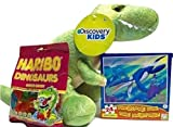 Dinosaur (T-rex) Plush Toy, Haribo Dinosaur Gummy Candy, Prehistoric Park Puzzle; Wonderful Birthday Gift or Easter Basket Filler! 3-pc