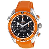 Omega Planet Ocean Chrono Orange Rubber Strap Mens Watch 23232465101001