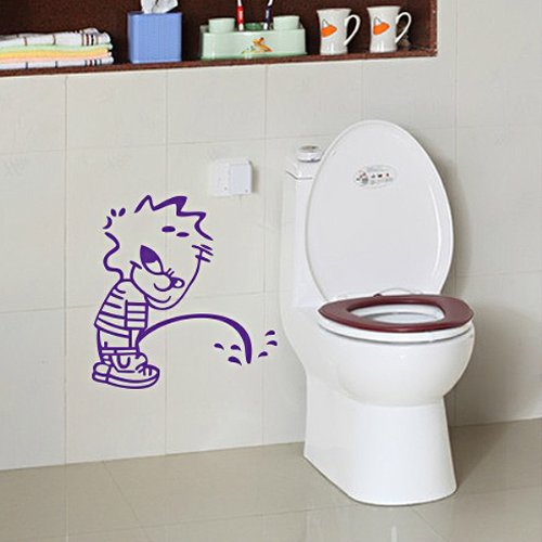 Foxnovo Funny Naughty Boy Style Waterproof Diy Toilet Seat Sticker Bathroom Decal Window Wall Car Sticker - Size L (Purple) front-580998