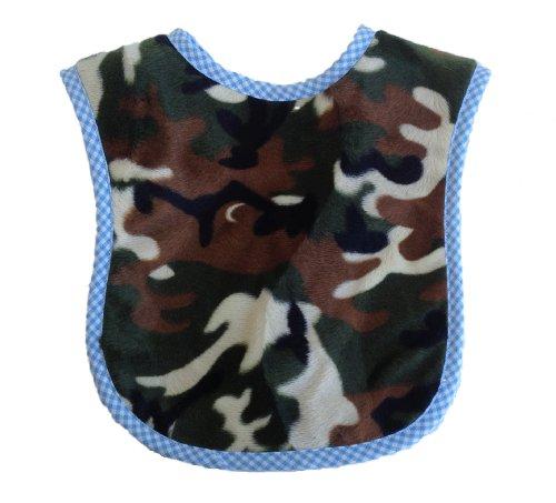 Patricia Ann Designs Camoflauge Fleece Reversible Bib With Check Trim, Blue front-52629
