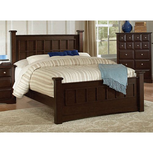 queen size bed transitional style in cappuccino finish great buy usa bed. Black Bedroom Furniture Sets. Home Design Ideas