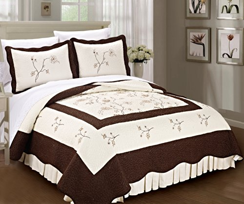 Serenta Classic Embroidery Chocolate Spring Flowers Microfiber Cotton Filled Bedspread Quilt 3 Piece Bed Set, King, Turquoise (Eiderdown Quilt compare prices)