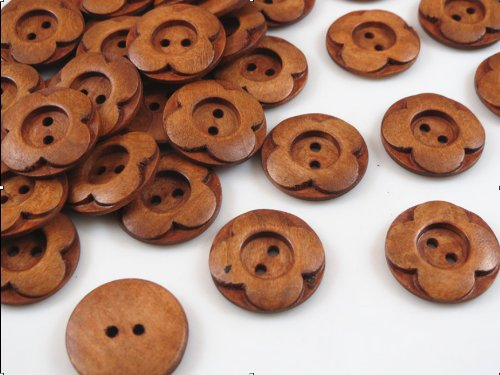 250PCs 2-hole Wooden Buttons Handmade With love 20mm Scrapbooking /& Sewing