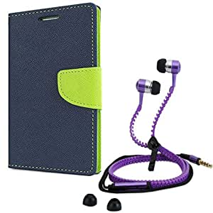 Aart Fancy Diary Card Wallet Flip Case Back Cover For Apple I phone 4-(Blue) + Zipper earphones/Hands free With Mic *Stylish Design* for all Mobiles By Aart store