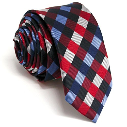 Shlax&Wing Skinny Mens Necktie Red Blue Checkered Slim Ties Silk New 2.36