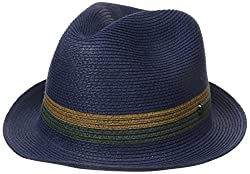 Ted Baker Men's Straw Trilby and Contrast Band, Navy, Small-Medium