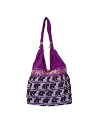 Womaniya Canvas Purple Handbag For Women(Size-32 Cm X 32 Cm X 10 Cm) - B00SJ1JTHC