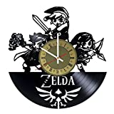 Zelda artwork vinyl wall clock - handmade unique home bedroom living kids room nursery wall decor great gifts idea for birthday, wedding, anniversary - customize your clock (Gold/White) (Color: Gold/White, Tamaño: 12 inches)