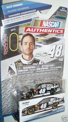 2014 NASCAR AUTHENTICS Race Winners Edition Dover Win #48 JIMMIE JOHNSON LOWES Dark Blue With White Racing Stripes 1/64 1:64 SCALE DIECAST RACE CAR With Collectible Box NASCAR Authentics - 1