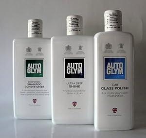 AutoGlym Bodywork Shampoo & Ultra Deep Shine 500ml & Car Glass Polish 325ml from AutoGlym