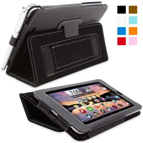 Snugg Nexus 7 Leather Case in Black - Flip Stand Cover with Elastic Hand Strap, Stylus Loop and Premium Nubuck Fibre Interior - Automatically Wakes and Puts the Google Nexus 7 to Sleep