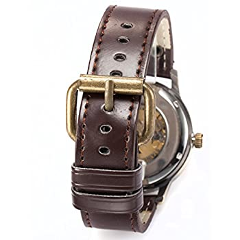 AMPM24 Men's Steampunk Bronze Skeleton Self-Winding Auto Mechanical Leather Wrist Watch PMW198