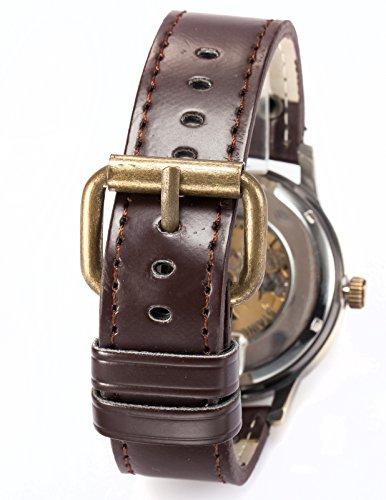 AMPM24 Men's Steampunk Bronze Skeleton Self-Winding Auto Mechanical Leather Wrist Watch PMW198 2