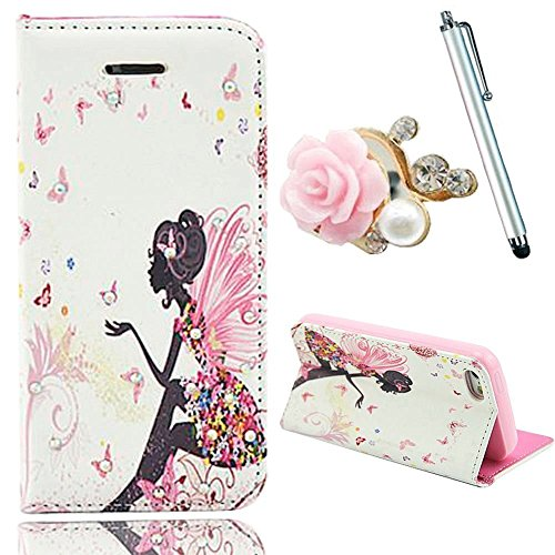 "Review Vandot 3 in1 Accessory Set Phone Case Silicone Case for Apple iPhone 6 Plus (5.5 "") 5.5 inch PU Leather Smart Cover Leather Case Elegant 3D Girl Bling Shining luster Crystal Diamond Rhinestone Pink Blue Yellow Pink Red White Orange colored flower skirt butterfly Ghost girl angel fairy magnetic closure Magnetic New Flip Book style Multi-Function protective synthetic Leather Case Cover Skin protective Case cover shell loop with Stand Holder + Pink pearl Glitter Camellia Flower Anti dust plugs + Silver metal Stylus touch pen"