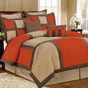 Palermo 8-Piece Comforter Set in Orange Size: Queen