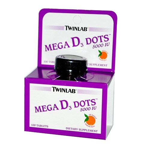 Twinlab Mega D3 Dots Tangerine 5000 IU Tablets, 100 Count (Twinlab Vitamin D compare prices)