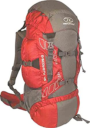 Highlander Discovery Adventure Travel Rucksack Back Pack Backpack + Cover 45L 65L 85L Red (45 Litre)