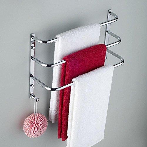 ssby fine Fashion, Asciugamano da bagno bar, in ottone massiccio, cromato, solido Bar con doppio gancio porta carta, scala