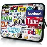 人気ロゴ (13inch) ノートPC Mac タブレット ケース + クリーニングクロス付き 2点セットでお届け バッグ インナーケース Facebook YouTube ロゴ One World Shop オリジナルセット商品 4363