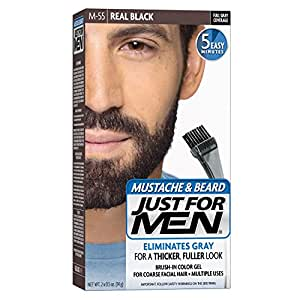 buy just for men brush in color gel for mustache beard real black m 55 1 kit packaging may. Black Bedroom Furniture Sets. Home Design Ideas