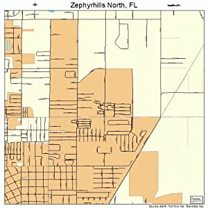 Large Street & Road Map of Zephyrhills North, Florida FL - Printed poster size wall atlas of your home tow