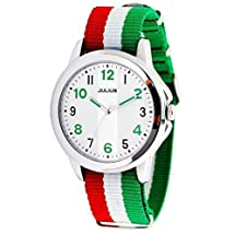 JULIUS JA-626D Weekender Silver Tone Unisex Watch with Green Red White Nylon Band