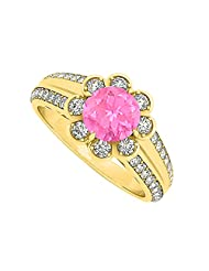 Fancy Pink Sapphire And CZ Floral Ring In 18K Yellow Gold Plated Vermeil Over Sterling Silver