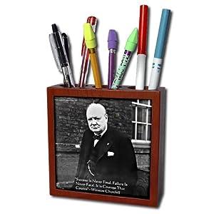 ph_36633_1 Rick London Famous Wisdom Quote Gifts - Winston Churchill - Winston Churchill Success Never Final Wisdom Quote Gifts - Tile Pen Holders-5 inch tile pen holder