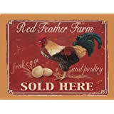 Red Feather Farm, Fresh Eggs and Poultry Metal Sign, Rooster