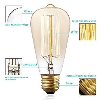 KINGSO Vintage Edison Bulbs 60W Squirrel Cage Filament Incandescent Antique Light Bulb for Home Light Fixtures E27 E26 Base ST64 110V - 6 Pack