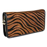 TinoTrade Zebra Print Fur Shell Travel Wallets Leather Women Clutch Purse