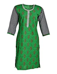 Global Women's Cotton Straight Kurta (GW59Green42015, Green, 42)