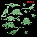 SODIAL(R) 13 PCS Glow In The Dark Star Dinosaur Fluorescent Stickers